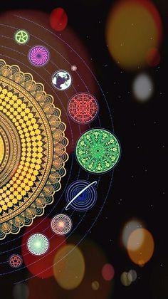 Hippie Wallpaper, Mood Wallpaper, Laptop Wallpaper, Aesthetic Iphone Wallpaper, Wallpaper Backgrounds, Mandala Painting, Mandala Art, Planets Wallpaper, Black Artwork