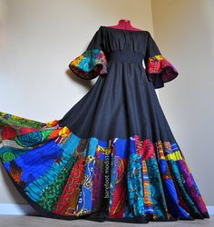 Dance With the Night - Long Unique African Dress, Black Dress with Bright African Patchwork, Ooak Boho Patchwork Dress, Ideal for L to Long African Dresses, Latest African Fashion Dresses, African Print Dresses, African Print Fashion, African American Fashion, South African Traditional Dresses, Afghan Dresses, Patchwork Dress, African Attire