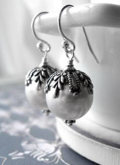 White Pearl Earrings with Antiqued Silver Vintage by ShySiren