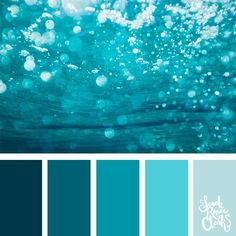 Take a dive under the sea with these beautiful color combinations inspired by ocean life and Living Coral - PANTONE's 2019 Color of the Year. Ocean Color Palette, Blue Colour Palette, Ocean Colors, Colour Schemes, Blue Color Combinations, Palette Art, Green Palette, Blue Colors, Water Colors
