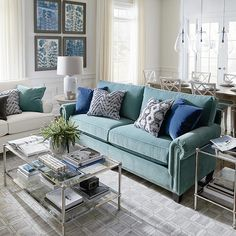 Upholstered Sofa Teal Floral