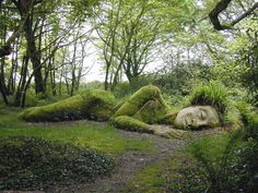 Lady in green..stone head..body in moss   Pin of the Day- bed head!