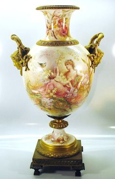 Museum quality superb Sevres porcelain Exhibition vase 21""