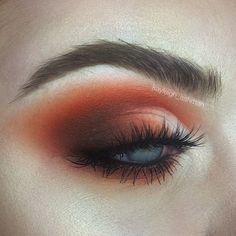 Orange half cut crease makeup by kayleigh_ashman #halfcutcrease