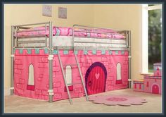 kids bunk bed with tent princess bed with standard Kids Bed Tent, Bunk Bed Tent, Cabin Bunk Beds, Bunk Beds For Boys Room, Wood Bunk Beds, Bunk Beds With Stairs, Kid Beds, Kids Bedroom, Bedroom Decor