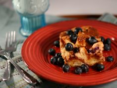 Blueberry and Vanilla Overnight Baked French Toast - 5 Points Plus per serving