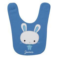 Personalized Blue Bunny Baby Bib