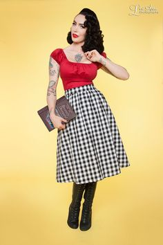 Plaid Mad Skirt in Black and White