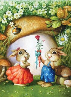 This adorable counted cross stitch pattern of a Boy Rabbit giving a Girl Rabbit a carrot rose was designed from the beautiful artwork of Petar Meseldzija. Susan Wheeler, Rabbit Art, Bunny Art, Cross Stitch Rose, Beatrix Potter, Cross Paintings, Whimsical Art, Illustrations, Cute Illustration