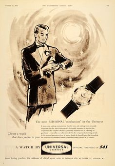 1955 Ad Universal Geneve Swiss Watch Wristwatch Man - Original Print Ad  Amazon Home d59e23c65f20