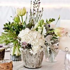 Rustic centerpiece with purple
