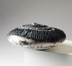 Ceramics by Patricia Shone at Studiopottery.co.uk - Contour 29, 'inversion of a drawdown zone' 2013 Earthenware ceramic, raku fired 14x29x32cm<br> (image Shannon Tofts)