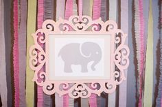 Emily's 1st Birthday Party - Pink Gray Yellow, Elephant Theme - Picture #2: Dessert/Candy Bar Backdrop