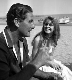 Vintage photo of Patrice Calmette and actress Britt Ekland.