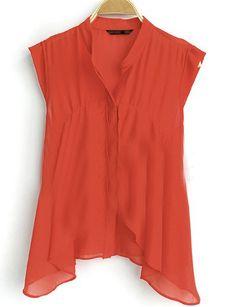 Orange Ruffle Stand Collar Sleeveless Irregular Chiffon Bluose
