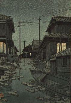 """Marée Biscuit on Twitter: """"[#estampe] 'Acoun sous la pluie Pluie du soir à Kawarago' (1947) de Hasui Kawase. https://t.co/dmpj0snCmE"""""""