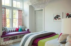 girls room idea fun accent colors and a great window seat in this girl's bedroom