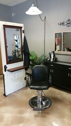 Calming Effects repurposed door salon station