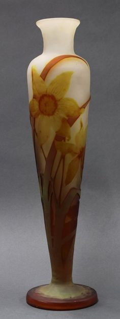 Emile Galle cameo glass vase, executed in the Art Nouveau taste