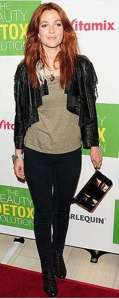 Who made Drew Barrymore's black skinny jeans and jacket that she wore in Los Angeles? Jacket – Catherine Malandrino  Jeans – J Brand