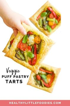 These super easy Puff Pastry Tarts taste amazing and are a great way to expose children to a range of vegetables. Puff pastry squared topped with pesto, roasted vegetables and mozzarella cheese. It is a flexible recipe that is easy to adapt to suit taste or to the ingredients you have available. A great kids lunch that they can prepare themselves!