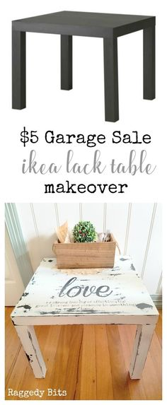 See how easy it is to turn a old ikea find at a garage sale into something that will add some farmhouse charm to your home | The $5 Garage Sale Ikea Lack Make Over | http://www.raggedy-bits.com