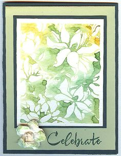 For Todays 90 minute challenge! This is my first card. Monochromatic Green.  Stamps: HA CL497 Find Joy CG271 Large Blossom  Distress Inks w/water on watercolor paper. Prima flower painted with distress inks