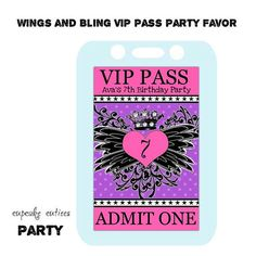 Wings and Bling Polka VIP girls Favors by CupcakeCutieesParty Pop Star Party, Kids Pop, Tulle Poms, Fabric Backdrop, Admit One, 7th Birthday, Vip, Party Favors, Make It Yourself