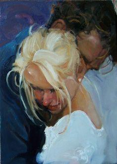 """""""The Pearl"""" Kim Roberti's 5""""x7"""" original oil figure couple's moment"""