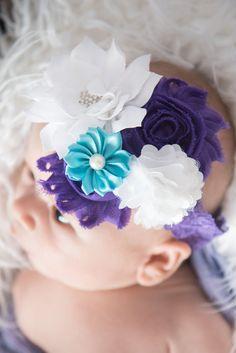 white elastic headband purple elastic by LaBellaRoseBoutique