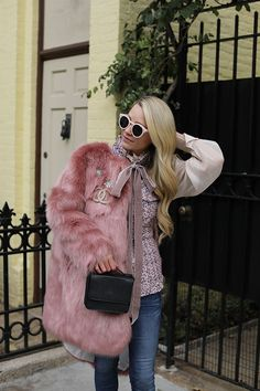 Faux Fur with velvet bows // Atlantic-Pacific // Click through for full outfit details