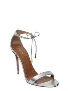 aquazzura - damen - sandaletten - 105mm hohe, metallische ledersandaletten…