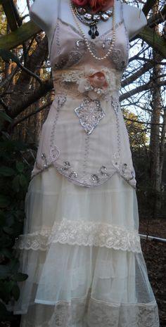 Cream lace dress wedding beading sparkle tiered  fairytale romantic  rose medium by vintage opulence on Etsy. $225.00, via Etsy.