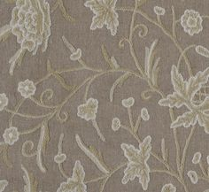 Wardar Crewel Fabric Floral crewel work in creams woven on taupe open weave linen.