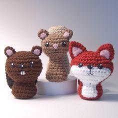 CraftyAlien® - Backyard Critters 1 Crochet Amigurumi Pattern: Beaver, Squirrel, Fox, $6.00