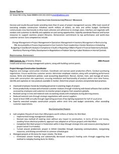 construction coordinator or project manager resume template - Sample Resume For Project Manager