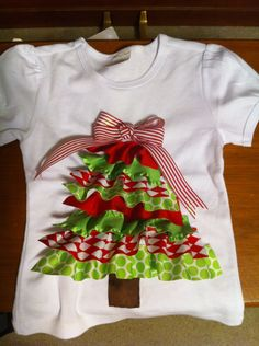Items similar to Christmas Tree Ribbon Shirt on Etsy Ribbon On Christmas Tree, Christmas Applique, Christmas Sewing, Christmas Crafts, Xmas Shirts, Christmas Shirts, Ugly Christmas Sweater, Little Girl Outfits, Kids Outfits