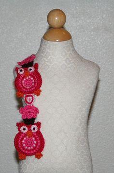Red+Heart+Crochet+Scarf+Patterns   Sweet Heart Owl Scarf Pattern NEW Crochet Pattern by LillaDolce, $12 ...