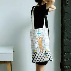 YIZI Canvas printed shoulder bags in ROOM series (FUN KIK)