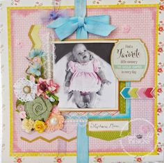 Scrapbook page created by Angela Holt using 3 Birds Design Midday Medley collection and Xyron adhesives.  http://www.hsn.com/shop/3-birds/2778