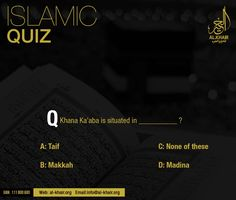 ** Islamic Quiz ** Q) Khana Ka'aba is situated in?Khair Hajj & Umrah PS: Mention your Answer in comments section Correct will be uploaded tomorrow Quiz With Answers, Islam For Kids, Islamic Information, Madina, Aba, Islamic Quotes, Quran, Muslim, This Or That Questions