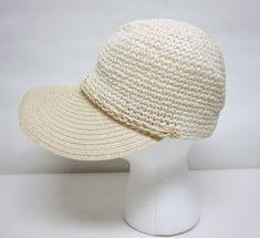 Cream White Sun Visor Hat Modified Newsboy Cap by sweetie2sweetie