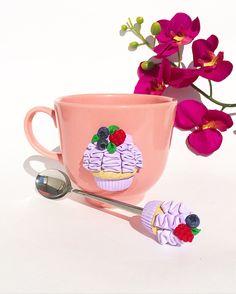 Купить Набор кружка и ложка с тортом из полимерной глины - кружка в подарок, чашка для чая