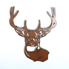 """Deer buck head mount metal wall art - 20"""" tall wall art - deer brown with rust accents - stag metal wall hanging on Etsy, $45.00"""