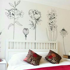 Check out Large decorative vinyl flower wall sticker decals. on vinylimpression Wall Decals For Bedroom, Vinyl Wall Decals, Map Bedroom, Large Bedroom, Bedroom Decor, Wall Drawing, Flower Wall Stickers, My New Room, Wall Design