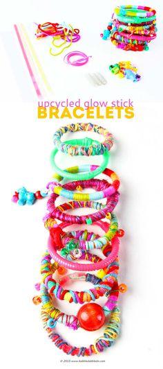 DIY Bracelets Upcycled Glow-Sticks for kids to make! #Kidscrafts