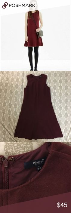 """Madewell Maroon Shift Dress A felted wool shift is a chilly-day no-brainer, especially when it has a cool raw hem. Nonwaisted. Falls 37 1/4"""" from shoulder. Wool. Worn once. Size 2. Madewell Dresses"""