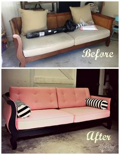 blue roof cabin: Custom Upholstered Pink and Black Sofa