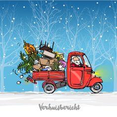 #kerst #kaart #kerstkaart #kerstkaarten #xmas #merry #christmas #happy #new #year #home #huis #verhuizen #verhuiskaart #verhuisbericht #auto #busje #rood #blauw #sneeuw #fuif