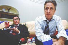 Jon Stewart & Stephen Colbert. They tell it like it is. And it's pretty true. Witty gentlemen.